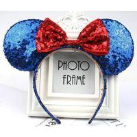 Bandeau oreilles de Minnie Mouse à paillettes 3D avec nœud - Minnie