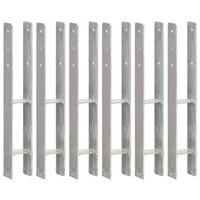 vidaXL Piquets de clôture 6 pcs Argenté 8x6x60 cm Acier galvanisé