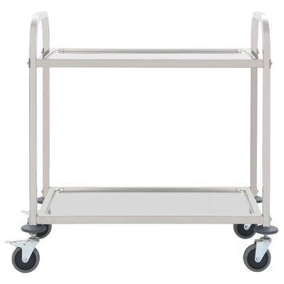 vidaXL Chariot de cuisine à 2 niveaux 95x45x83,5 cm Acier inoxydable