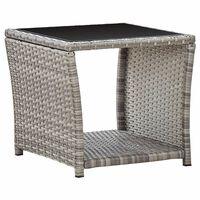 vidaXL Table basse Gris 45x45x40 cm Résine tressée et verre