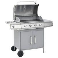 vidaXL Barbecue au gaz 4+1 zone de cuisson Argenté
