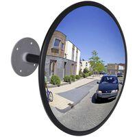 vidaXL Miroir de trafic convexe Acrylique Noir 30 cm Intérieur