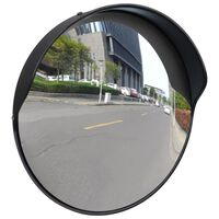 vidaXL Miroir de trafic convexe d'extérieur Plastique PC Noir 30 cm