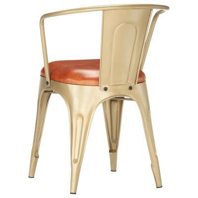 vidaXL Chaises de salle à manger 2 pcs Marron Cuir véritable
