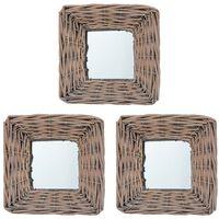 vidaXL Miroirs 3 pcs 15x15 cm Osier