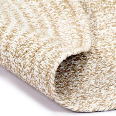 vidaXL Tapis fait à la main Jute Blanc et naturel 90 cm