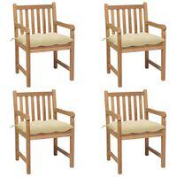vidaXL Chaises de jardin 4 pcs avec coussins blanc crème Teck solide