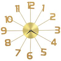 vidaXL Horloge murale Métal 50 cm Doré